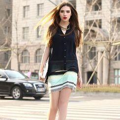 Saranghae - Striped Mock Two-Piece Chiffon Dress