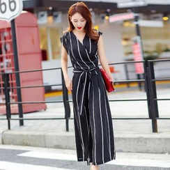 Cobogarden - Set: Sleeveless V-Neck Chiffon Top + Wide Leg Pants