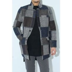 Ohkkage - Single-Breasted Check-Pattern Coat
