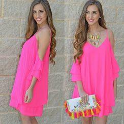 Chika - Cutout-Sleeve A-Line Dress
