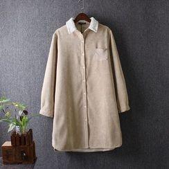 Blue Rose - Corduroy Fleece Lined Long Shirt