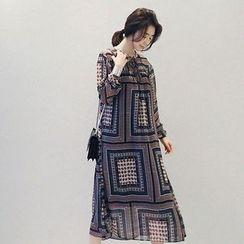 NANING9 - Pattern A-Line Chiffon Dress