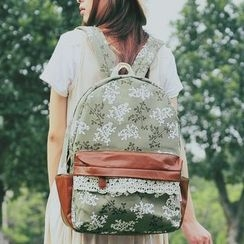 SUPER LOVER - Lace-Trim Floral Canvas Backpack