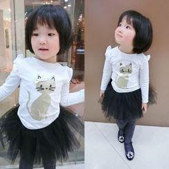 Happy Lala - Kids Long-Sleeve Cat-Print T-Shirt