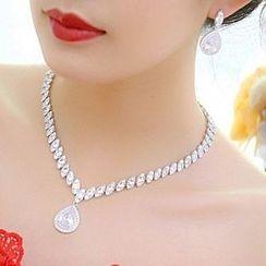 Neostar - Set : Rhinestone Earrings + Necklace