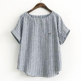 Rosadame - Striped Short-Sleeve Blouse