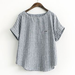 Rosadame - Striped Short-Sleeve Top