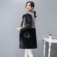 Romantica - Faux-Leather Sleeve Fleece Coat