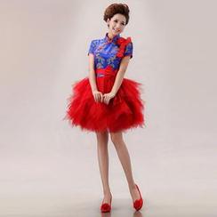 Bridal Workshop - Short-Sleeve Chinese Style Mini Prom Dress