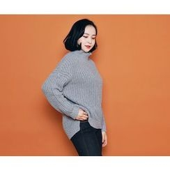 HOTPING - Turtle-Neck Dip-Back Knit Top