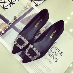 kokoin - Embellished Buckled Pointy Flats