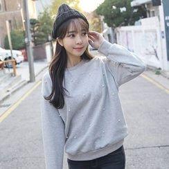 Envy Look - Faux-Pearl Fleece-Lined Sweatshirt