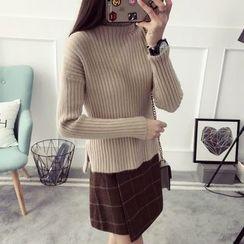 Qimi - Turtleneck Rib Knit Sweater