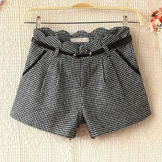 Ringnor - Scalloped-Waistline Houndstooth Shorts