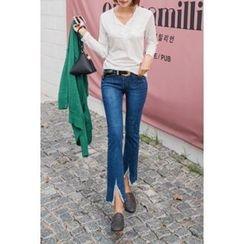 migunstyle - Cutout Fray-Hem Straight-Cut Jeans