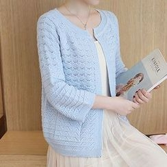 Ageha - Open Knit 3/4 Sleeve Cardigan
