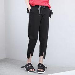 Sonne - Asymmetric-Hem Drawstring Cropped Pants