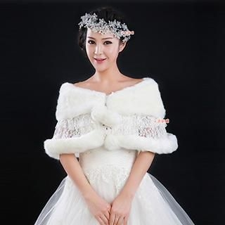 QS Bride - Pompom Accent Faux Fur Bridal Shawl