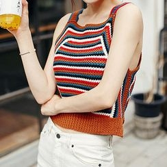 chuu - Sleeveless Striped Knit Top