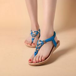 MANMANNI - Beaded Thong Flat Sandals