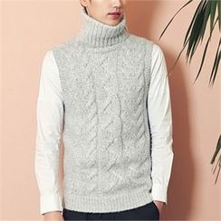 MITOSHOP - Turtle-Neck Sleeveless Wool Blend Cable-Knit Top