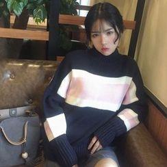 OCTALE - Striped Mock Neck Chunky Sweater