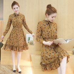 Twinkle Star - Long-Sleeve Floral Chiffon Dress