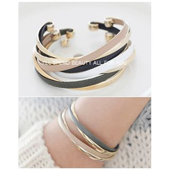 Miss21 Korea - Leather and Metal Bangle