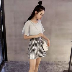 Cerulean - Set: Chiffon Short-Sleeve Top + Stripe High-Waist Shorts