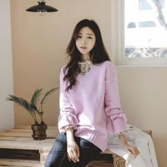JUSTONE - V-Neck Beribboned Cuff Knit Top