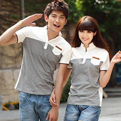 Igsoo - Couple Striped Panel Polo Shirt