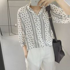 Whitney's Shop - Printed 3/4-Sleeve Chiffon Blouse