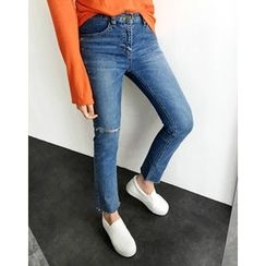 UPTOWNHOLIC - Distressed Straight-Cut Jeans