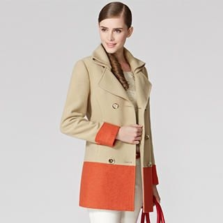 O.SA - Wool-Blend Color-Block Double-Breasted Coat