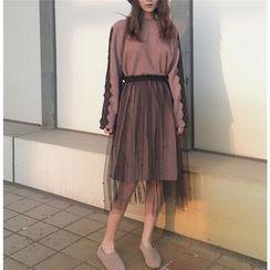 Bloombloom - Set : Mesh Skirt + Loose-fit Long-Sleeve Dress