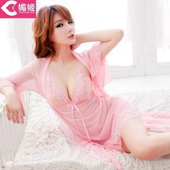 Charming Lover - Set: Lace Nightdress + Ruffled Robe