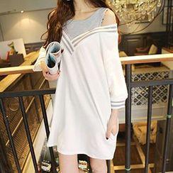 Cloud Nine - Mock Two-Piece Long-Sleeved Dress