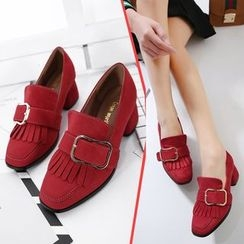 Anran - Block Heel Buckled Loafers