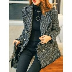 LOLOten - Faux-Pearl Button Wool Blend Tweed Blazer