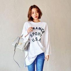 Seoul Fashion - Long-Sleeve Letter Print T-Shirt