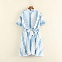 Mushi - Pinstriped Ribbon Short-Sleeve Dress