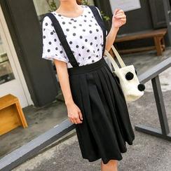 Seoul Fashion - Suspender Pleated Chiffon Skirt