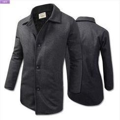 WIZIKOREA - Single-Breasted Quilted-Lined Coat