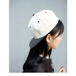 VANILLA SECOND - Faux Leather Color-Block Baseball Cap
