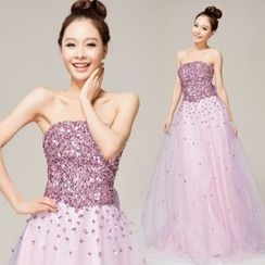 Gracia - Strapless Sequined Bowed A-line Evening Gown