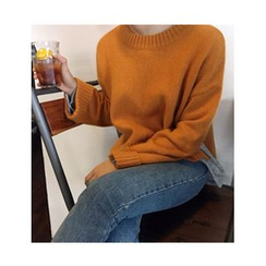 FROMBEGINNING - Crewneck Wool Blend Knit Top