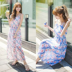 Dowisi - Floral Print Chiffon Strappy Dress