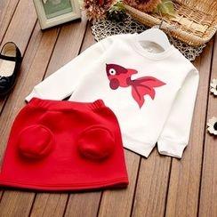 Rakkaus - Set: Printed Pullover + Miniskirt