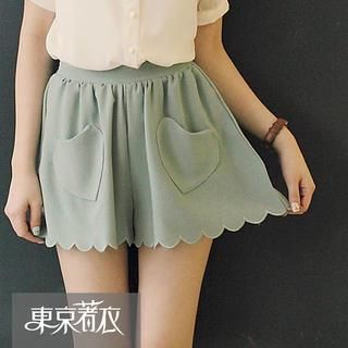 Tokyo Fashion - Scalloped-Hem Heart-Pocket Culottes