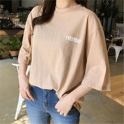 QNIGIRLS - 3/4-Sleeve Lettering T-Shirt